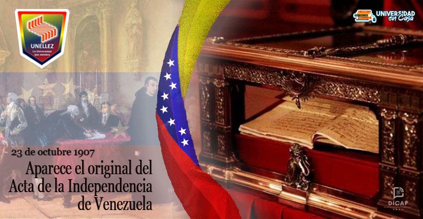 Aparece el original del Acta de la Independencia de Venezuela