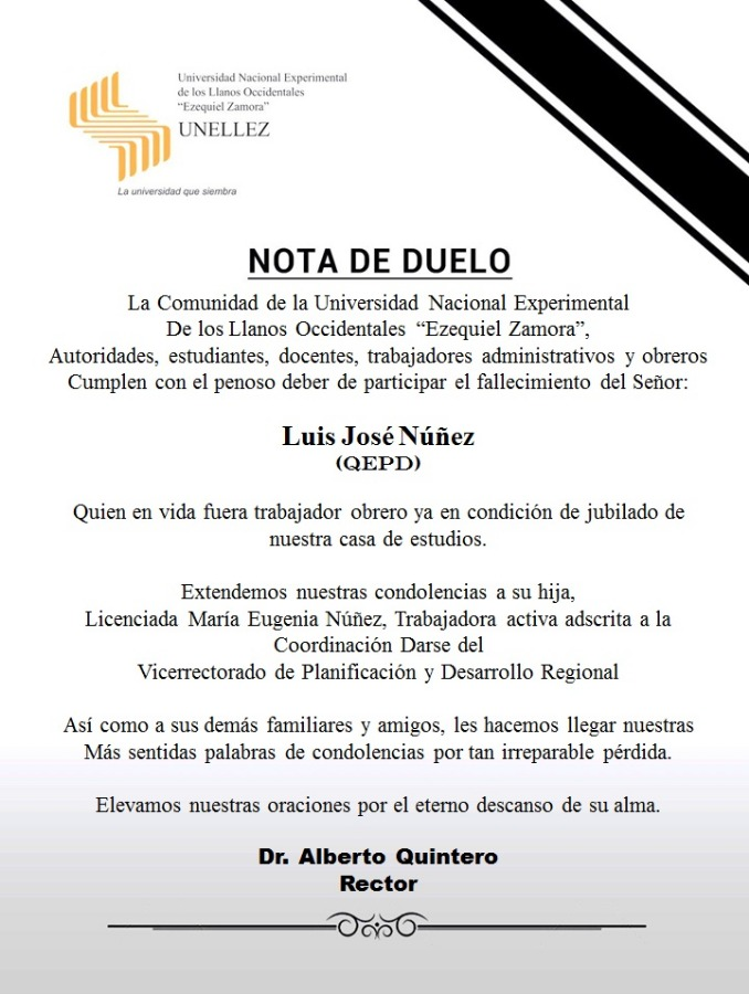 Nota de Duelo: Luis José Nuñez