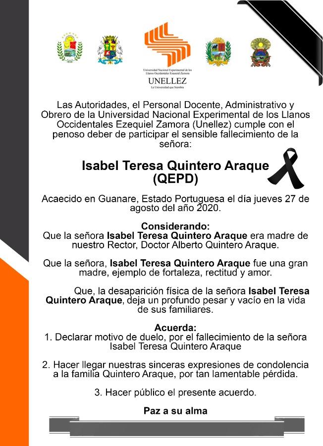 Fallecimiento de la señora:  Isabel Teresa Quintero Araque