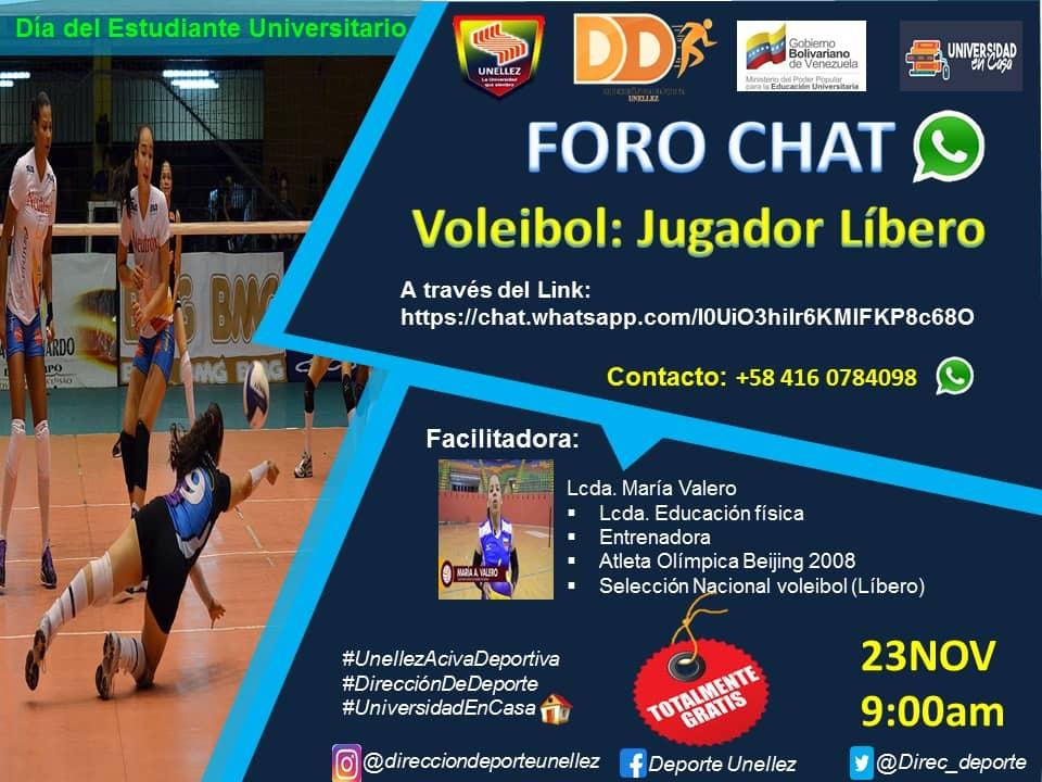"""Dirección de Deportes auspició foro chat """"Voleibol: Jugador Líbero"""""""