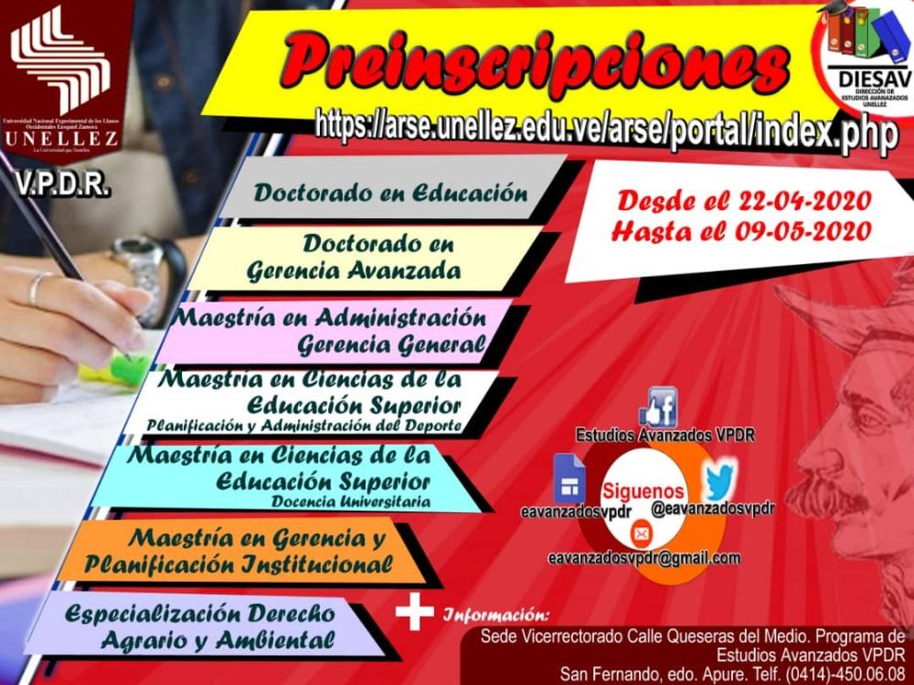 Unellez realiza proceso de Preinscripción para cursar estudios de Postgrado