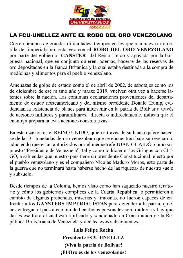 Comunicado FCU-Unellez ante el robo del oro venezolano