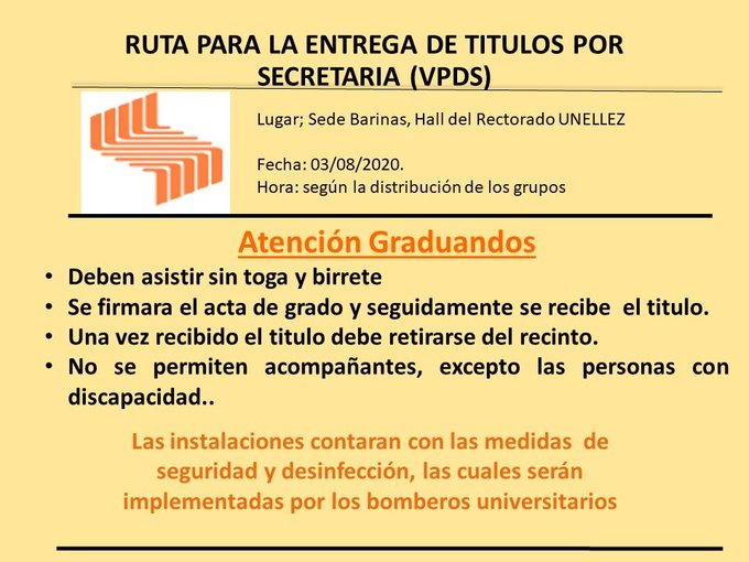Ruta para entrega de Títulos por Secretaría en el VPDS-Barinas