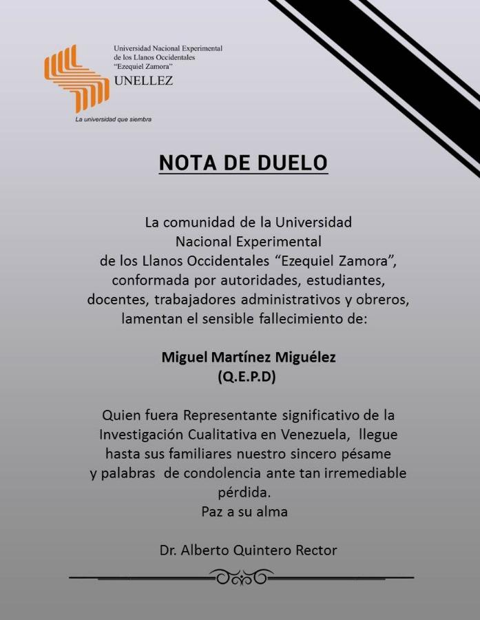 Nota de Duelo Miguel Martínez Miguélez