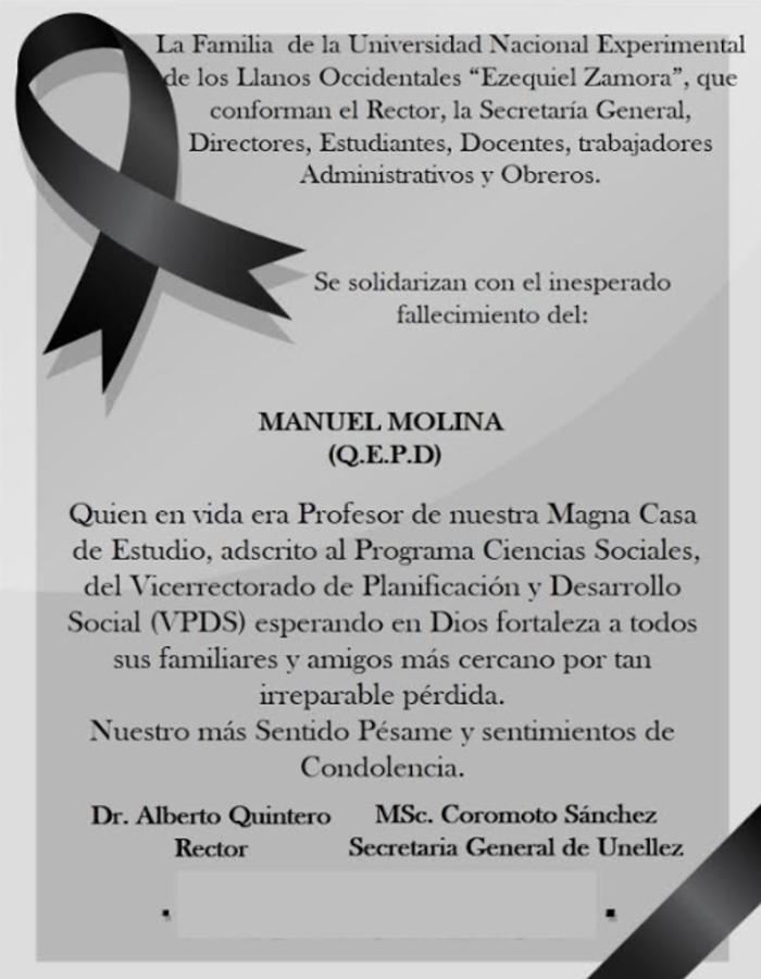 Nota de Duelo Profesor Manuel Molina
