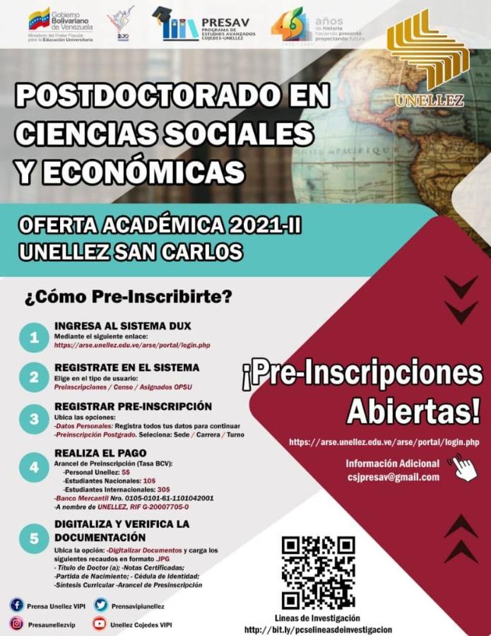 Unellez en Cojedes inicia preinscripciones para Postdoctorado en Ciencias Sociales y Económicas