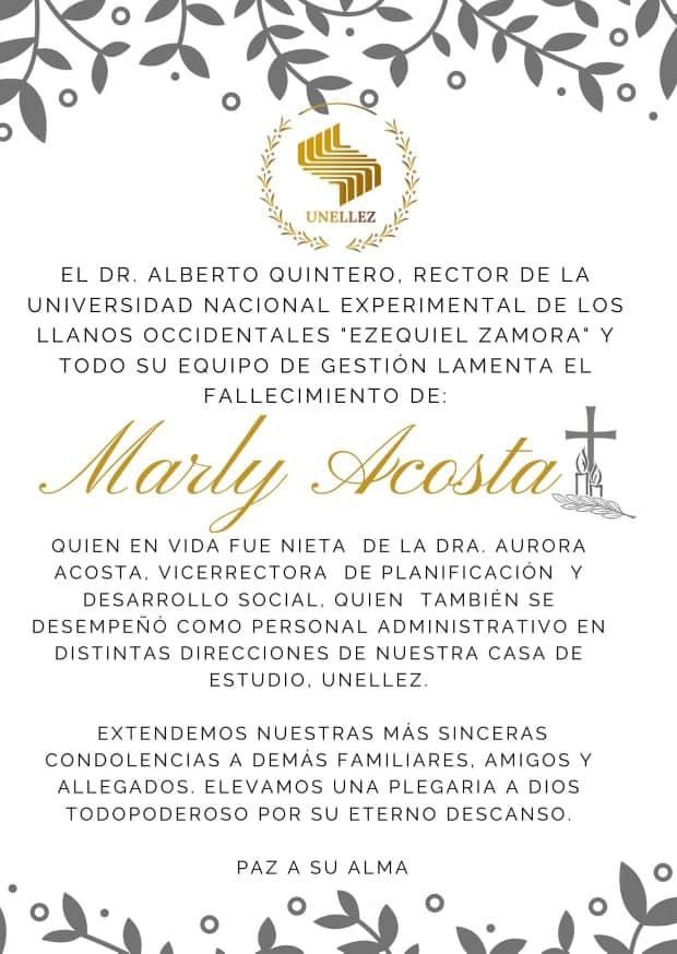 Nota de  Duelo Marly Acosta