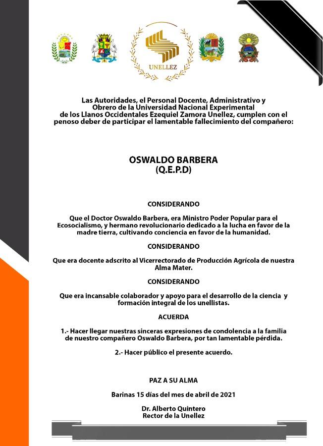 Acuerdo de Duelo: Oswaldo Barbera